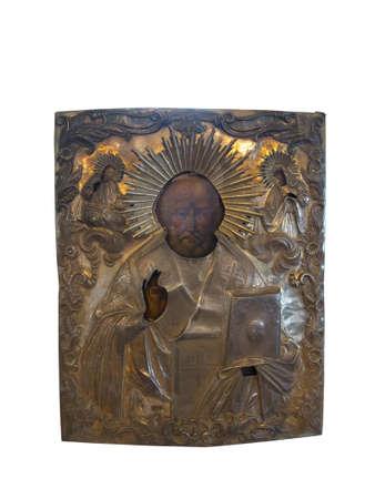 niño orando: Icono de plata antiguo del siglo 19 aislados sobre fondo blanco Foto de archivo