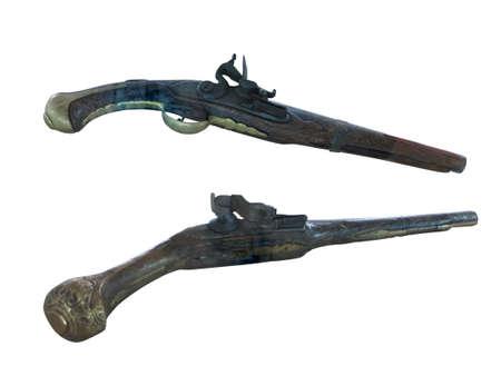 heirlooms: Secolo d'epoca pistole a pietra focaia del 18 � isolato su sfondo bianco