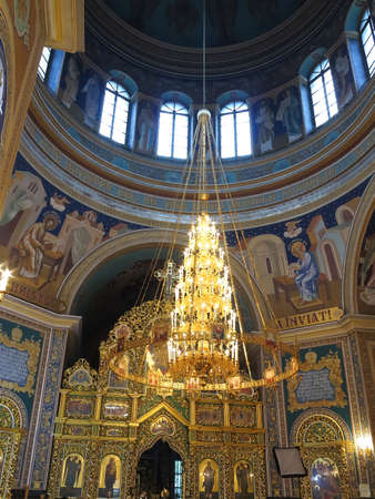 ornated: Gold ornated luxurious luster interior of orthodox church in Europe