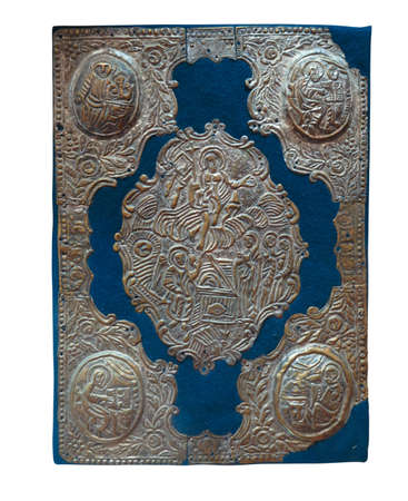 protestantism: Ancient vintage Bible isolated over white background