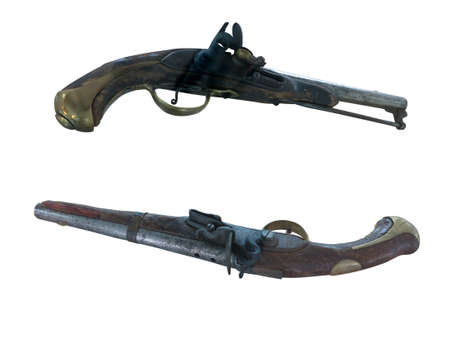 heirlooms: 18th Century antique flintlock pistols isolated over white background