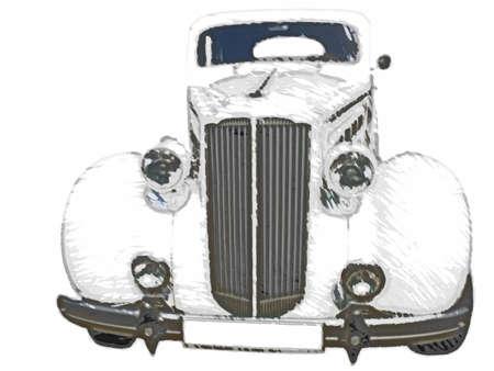 Sketch retro vintage white dream wedding luxury car over white background photo