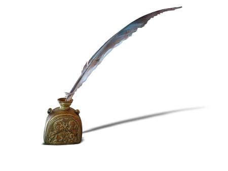 cổ điển: Antique bút lông và lọ mực đồng thời cổ xưa bị cô lập trên nền trắng Kho ảnh