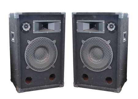two party system: Old powerful stage concerto audio speakers isolated on white background