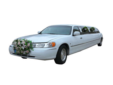 White wedding limousine for celebrities and special events isolated over white background