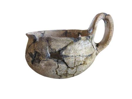 prehistoric: prehistoric pottery isolated over white background Stock Photo