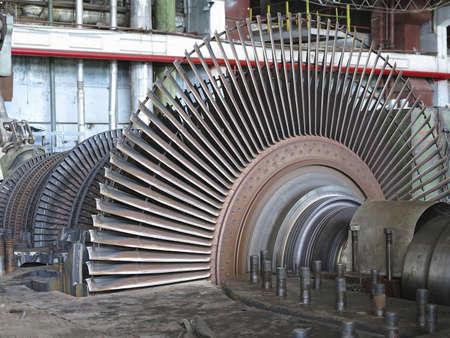 Power generator and steam turbine during repair at power plant Banco de Imagens