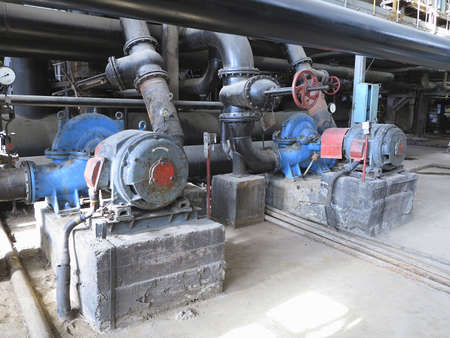 Electric motors driving industrial water pumps at power plant