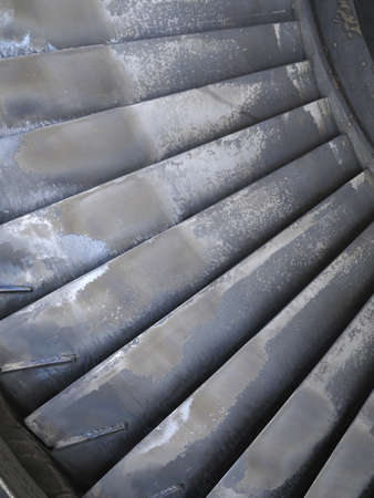 steam jet: Old power generator steam turbine blades during repair process at power plant Stock Photo