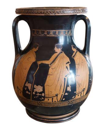 Oude Griekse vaas blootgesteld in een museum