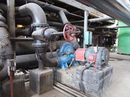 pumping: Electric motors driving industrial water pumps at power plant