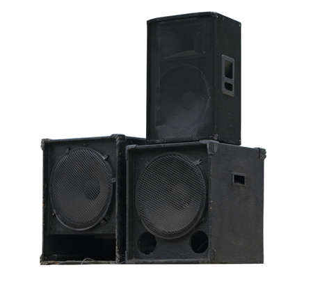 Old powerful stage concerto audio speakers isolated on white background Stock Photo - 20963057