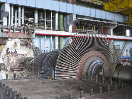 compressor: Power generator and steam turbine during repair at power plant Stock Photo