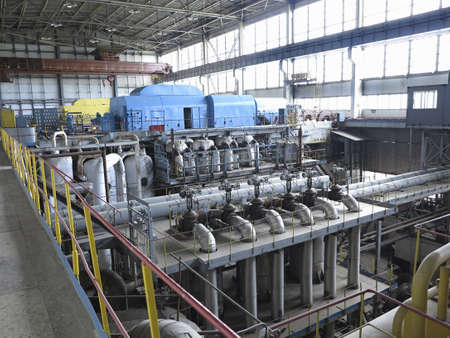 generating station: Power generator and steam turbine during repair at power plant Stock Photo