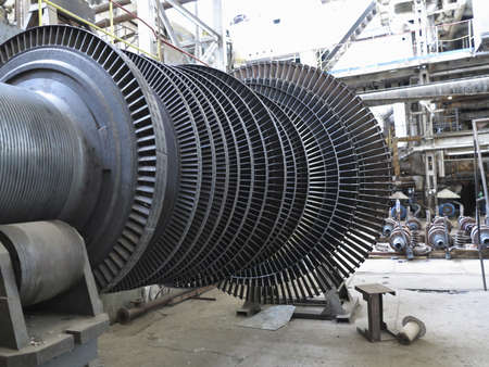 steam turbine: Power generator steam turbine during repair process at power plant Stock Photo