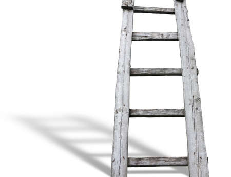 Old wooden vintage cuve ladder with shadow over white background