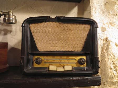 Vintage brown old radio receiver of the last century photo
