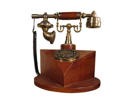 Vintage old style wooden phone with retro disc dial isolated on white Stock Photo