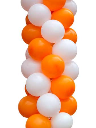 Orange and white balloons isolated on white background