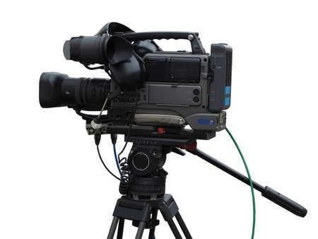 C?mara profesional de TV studio de video digital aislada sobre fondo blanco