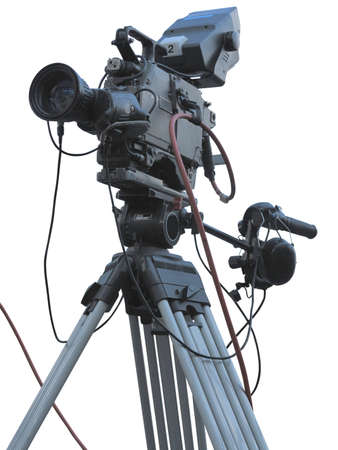 TV Professional studio digital video camera on tripod isolated over white background photo