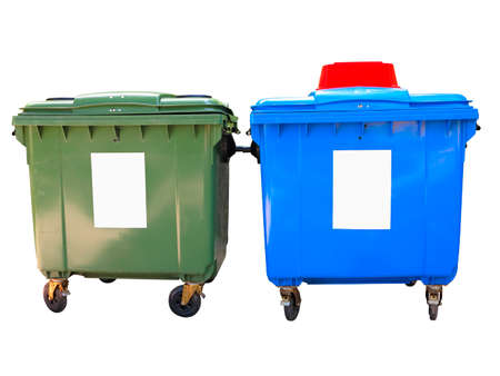 New colorful plastic garbage containers isolated over white background photo