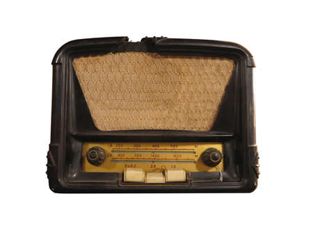 Vintage brown old radio receiver of the last century isolated over white photo