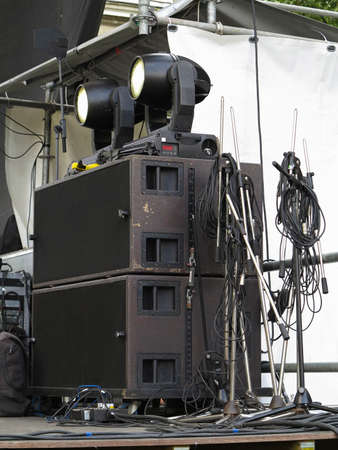 concerto: Old powerful concerto audio speakers ,amplifiers ,spotlights, stage equipment Stock Photo