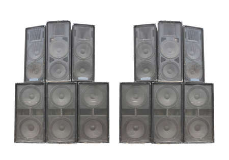 stereo subwoofer: Old powerful stage concerto industrial audio speakers isolated on white background