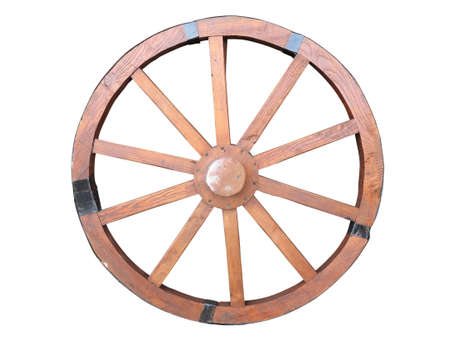 Antique Cart Wheel made of wood and iron-lined isolated over white photo