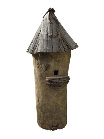 wooden handmade birdhouse isolated on white background photo