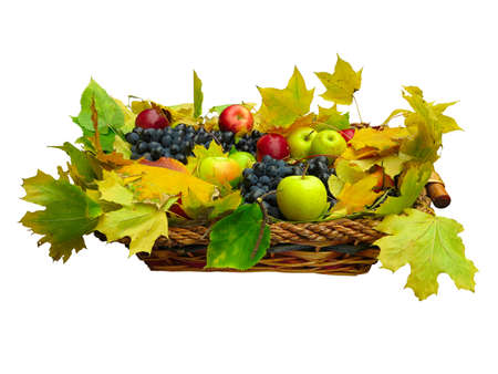 Fresh fruit and leaves in basket isolated on white background photo