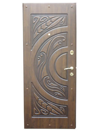 Wooden brown pattern front door isolated over white background photo