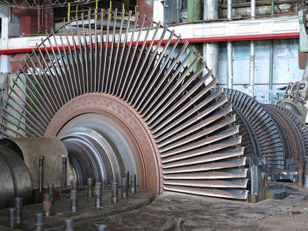 steam turbine: Power generator and steam turbine during repair at power plant Stock Photo