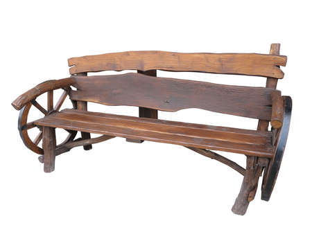 Wooden Handmade Garden Bench With Cart Wheel Decoration Isolated.. Stock  Photo, Picture And Royalty Free Image. Image 23999829.