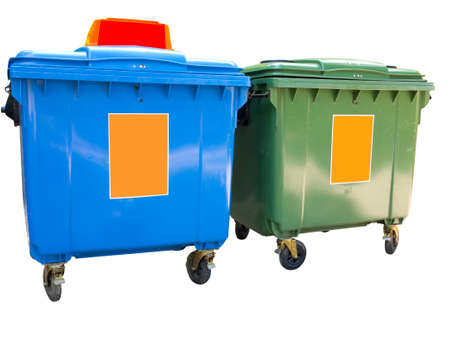 New colorful plastic garbage containers isolated over white  photo