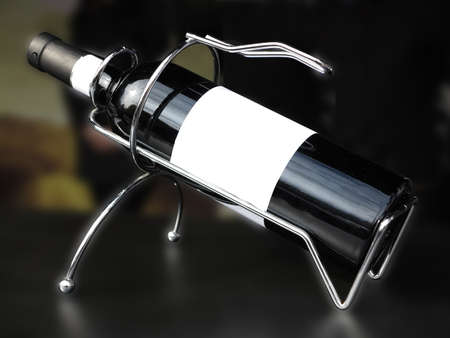 cabernet sauvignon: White empty label wine bottle in metallic support