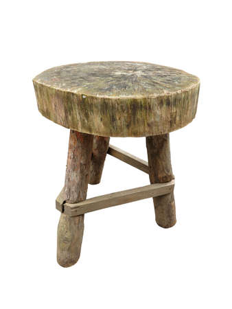antique furniture: Wooden garden rough handmade table isolated over white