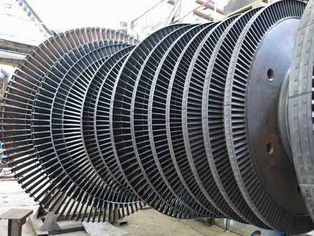 Power generator steam turbine during repair process at power plant Stock Photo