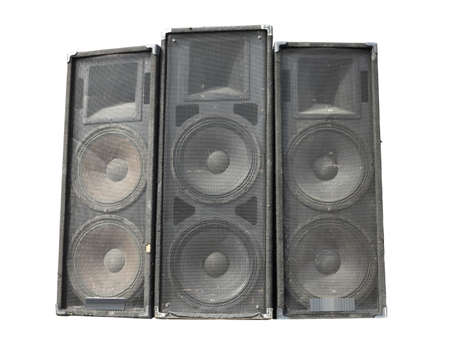 concerto: Old powerful stage concerto industrial audio speakers isolated on white background