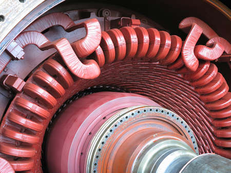 standby: Electric power generator and steam turbine during repair at power plant Stock Photo