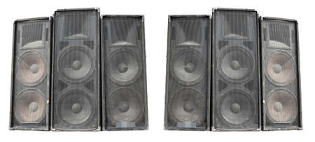 Old powerful stage concerto industrial audio speakers isolated on white background photo