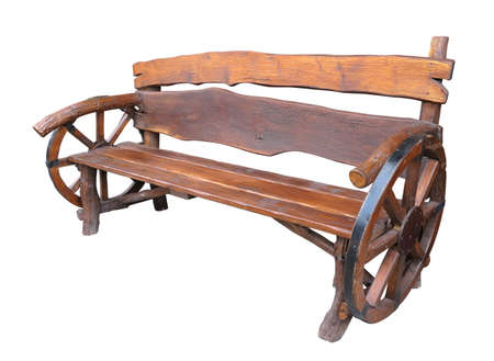Wooden handmade garden bench with cart wheel decoration isolated over white background 版權商用圖片