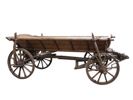 Vintage old rough wooden cart isolated on white background photo