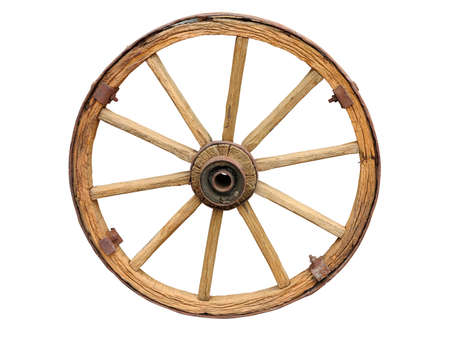 wagon wheel: Antique Cart Wheel made of wood and iron-lined isolated over white