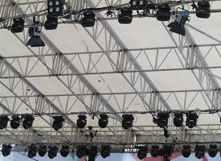 open air: structures of stage illumination lights equipment and projectors