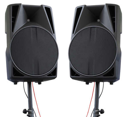 party system: Large powerful Audio Speakers on tripod Isolated on White Background