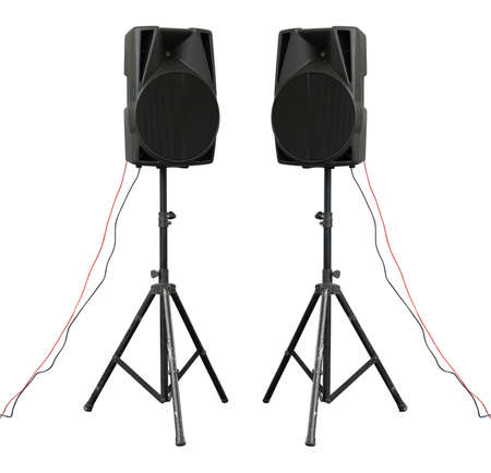 Large powerful Audio Speakers on tripod Isolated on White Background