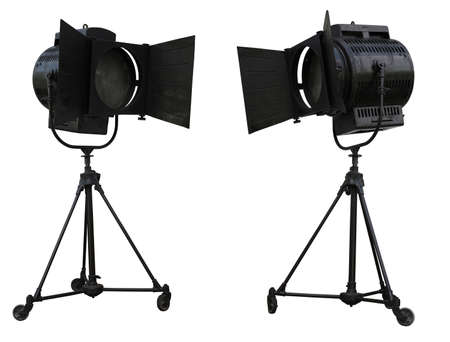 Studio spotlight lighting equipment isolated on white background photo