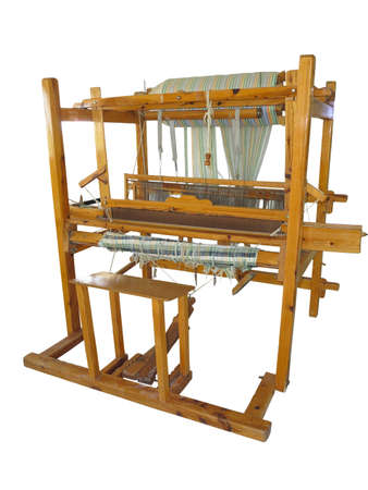weaving: Vintage ancient wooden loom isolated over white background